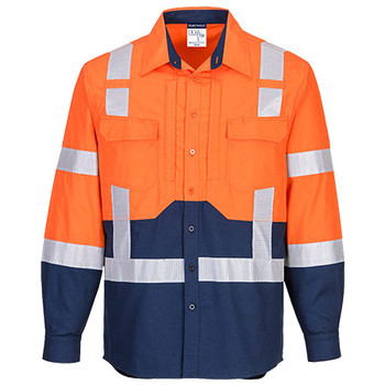 Orange-Navy - MS103 Hi-Vis Stretch Long Sleeve Shirt - Portwest