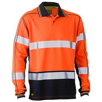 Orange-Navy - BK6219T Taped Hi Vis Polyester Mesh Polo - Bisley