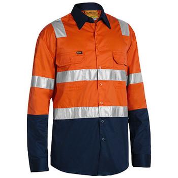 Orange-Navy - BS6432T Taped Hi Vis Cool Lightweight Shirt with Shoulder Tape - Bisley