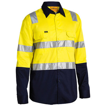 Yellow-Navy - BS6432T Taped Hi Vis Cool Lightweight Shirt with Shoulder Tape - Bisley