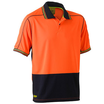 Orange-Navy - BK1219 Hi Vis Polyester Mesh Polo - Bisley