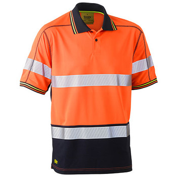 Orange-Navy - BK1219T Taped Hi Vis Polyester Mesh Polo - Bisley