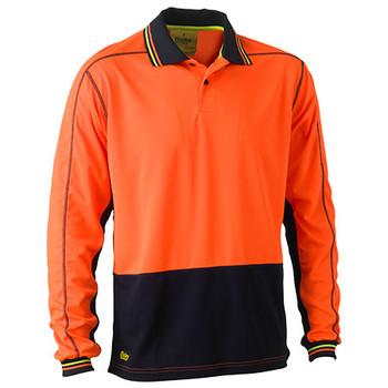 Orange-Navy - BK6219 Hi Vis Polyester Mesh Polo - Bisley
