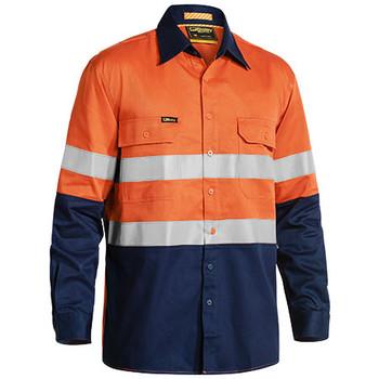 Orange-Navy - BS6448T Taped Hi Vis Industrial Cool Vented Shirt - Bisley