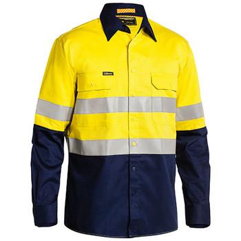 Yellow-Navy - BS6448T Taped Hi Vis Industrial Cool Vented Shirt - Bisley