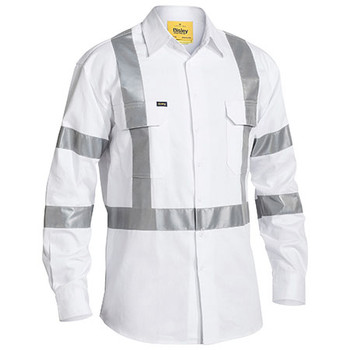 White - BS6807T Taped Night Cotton Drill Shirt - Bisley