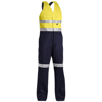 Yellow-Navy - BAB0359T Taped Hi Vis Action Back Overall - Bisley