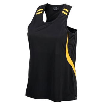 LV3125 - Ladies Flash Singlet Black/Gold