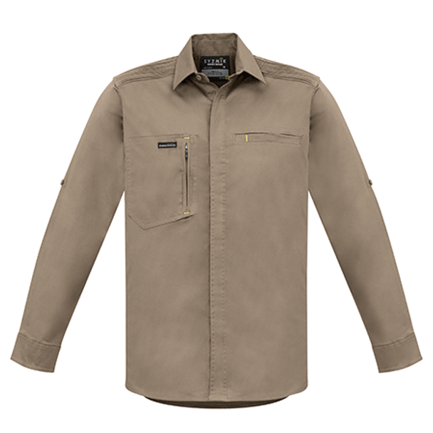 ZW350 - Mens Streetworx L/S Stretch Shirt Khaki Front