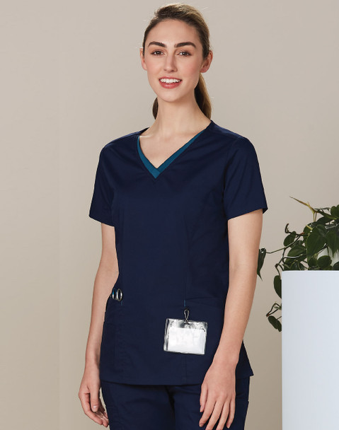 M7660 - Ladies V-Neck Contrast Trim Scrub Top