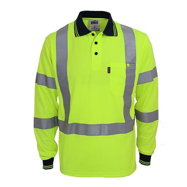 Yellow - 3710 Hi-Vis X-Back and Bio-motion Taped Polo - DNC Workwear