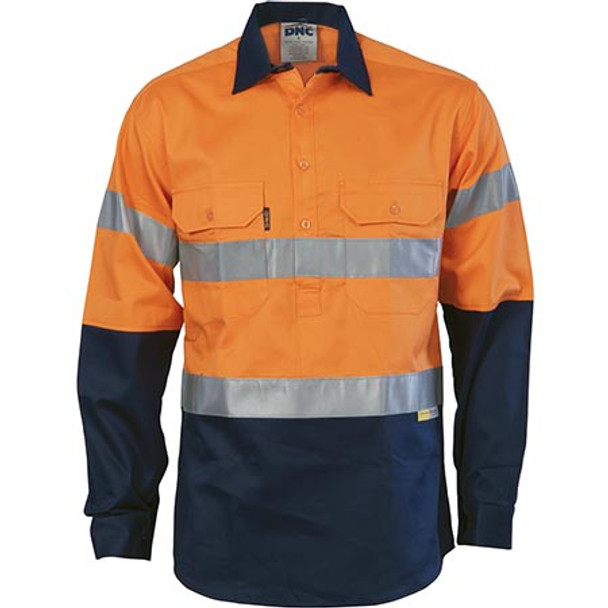 Orange-Navy - 3849 HiVis Two Tone Closed Front Cotton Shirt with 3M R/Tape - DNC Workwear