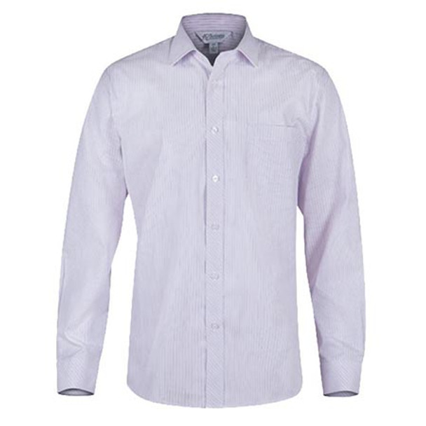 White-Pink - 1906L Mens Long Sleeve Bayview Shirt - Aussie Pacific