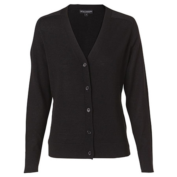 Black - M9602 Womens V-Neck Long Sleeve Cardigan - Winning Spirit
