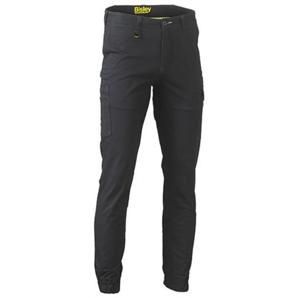 Black - BPC6028 Stretch Cotton Drill Cargo Cuffed Pants - Bisley