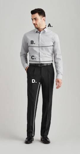 biz corporates mens fitting guide diagram
