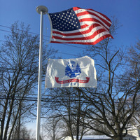United States Army Flag flying proudly. 2'x3' under a 3'x5' American Flag on the 21' Classic Flag Pole. All 100% Made in the U.S.A.