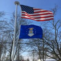 United States Air Force flying proudly. 2'x3' under a 3'x5' American Flag on the 21' Classic Flag Pole. All 100% Made in the U.S.A.