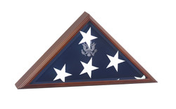 Vice Presidential Flag Case: Solid American wood with cherry finish, laser engraved Great Seal, beveled glass. Made in U.S.A.