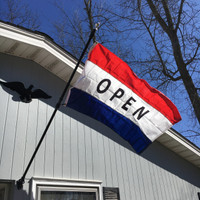 3'x5' Red-White-Blue Open Flag. Flying on 6' Freedom Flag Pole Made in USA