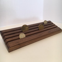 Patriot 4 Row Challenge Coin Rack Made in U.S.A.-Showing 4 coins from side view