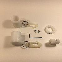 White Never Furl Flag Attachment Kit Includes: 2-Never Furl Bushings, 2-Shaft Collars, 2 Stainless Steel Rings, 2 Flag Clips, 2-Self Tapping Screws, 1 Allen Wrench
