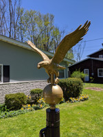 Gold Bronze Eagle flagpole ornament or finial. Made in USA