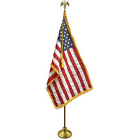 3'x5' Nylon Indoor American Flag shown with optional hardware.