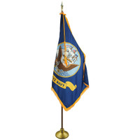 3'x5' Nylon Indoor U.S. Navy Flag shown with optional hardware.