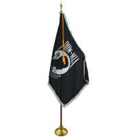3'x5' Nylon Indoor POW/MIA Flag shown with optional hardware.