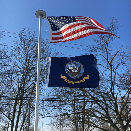 United States Navy Flag flying proudly. 2'x3' under a 3'x5' American Flag on the 21' Classic Flag Pole. All 100% Made in the U.S.A.