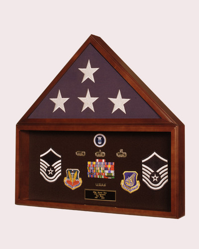 Flag and Memorabilia Display Case. Solid American Hardwood with exclusive Cherry finish.