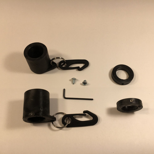 Black Never Furl Flag Attachment Kit Includes: 2-Never Furl Bushings, 2-Shaft Collars, 2 Stainless Steel Rings, 2 Flag Clips, 2-Self Tapping Screws, 1 Allen Wrench