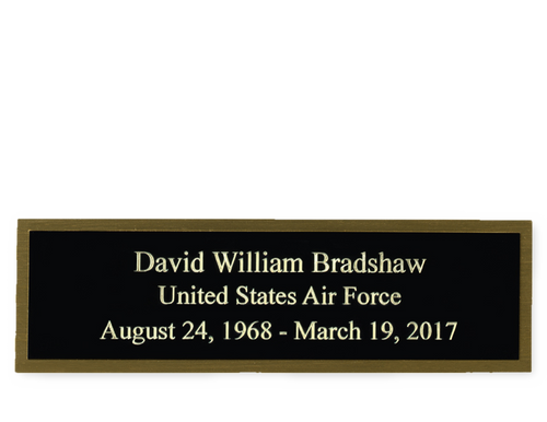 Example: Black on Brass Engraved name Plate Made in USA
