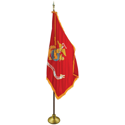 3'x5' Nylon Indoor U.S. Marine Corps Flag shown with optional hardware.