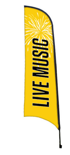 "Example Custom Wave Banner Flag Made in USA ""live music"""