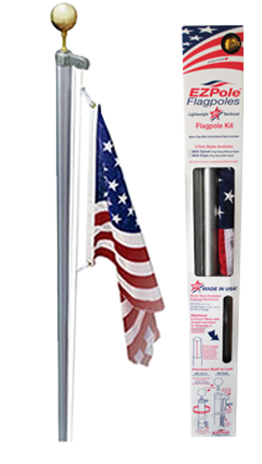 The Classic Flagpole with rope halyard and gold ball topper. Made in U.S.A.