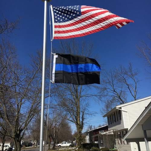 2'x3' Thin Blue Line Flag, flying under 3'x5' American Flag. Made in USA