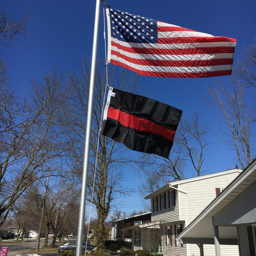 Thin Red Line 2'x3' flying under 3'x5' American flag on the 21' Classic Flag Pole. Made in USA