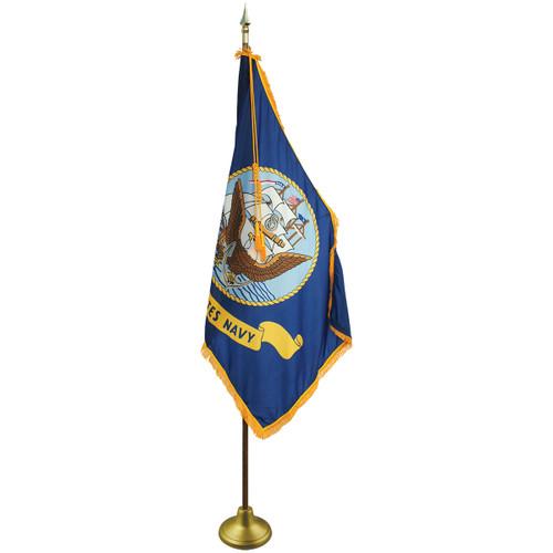 3'x5' Nylon Indoor U.S. Navy Flag shown with optional hardware.
