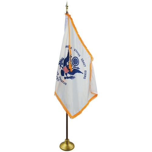 3'x5' Nylon Indoor U.S. Coast Guard Flag shown with optional hardware.