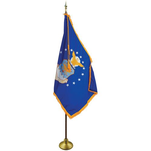 3'x5' Nylon Indoor U.S. Air Force Flag shown with optional hardware.