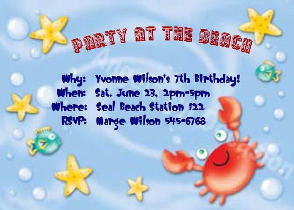 Beach Party Invitations Sample