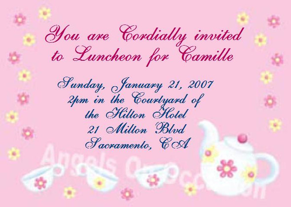 Tea Party Invitations Sample