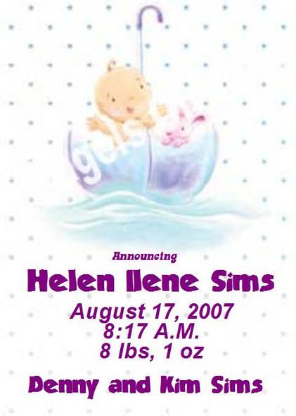 Bambino Birth Announcements Sample