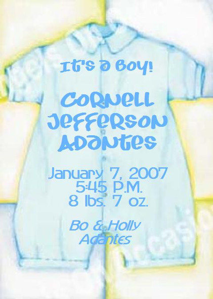 Baby Boy Announcements Sample