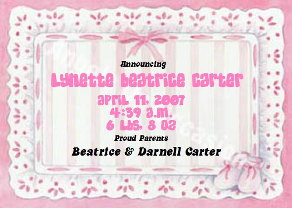 Baby Girl Birth Announcements Sample