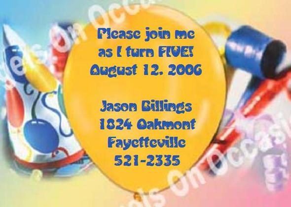 Children's Birthday Invitations Sample