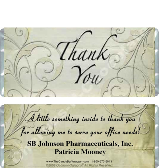 Paisley Thank You Candy Wrappers Sample