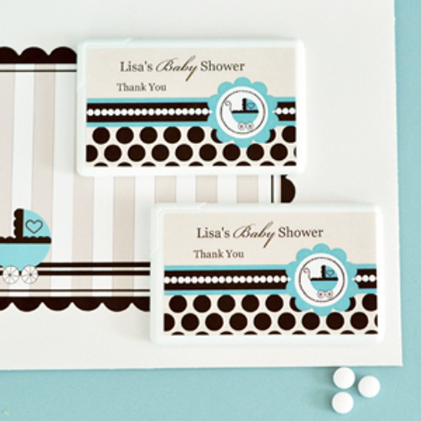 Blue Baby Shower Personalized Mini Mint Favors